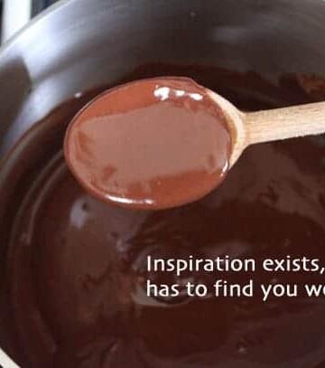 Chocolate Peanut Butter Sauce on wooden spoon.