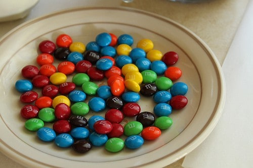 Plate of M&M candies.