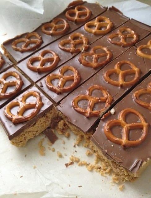 Five Minute Cheesecake Pretzel Bars cut into squares.