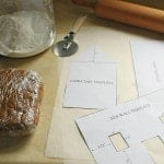 Template and dough for gluten-free gingerbread house.