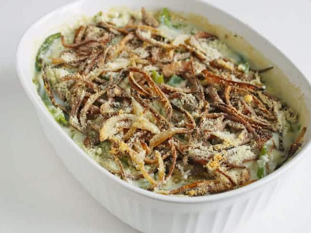 Gluten-free green bean casserole in a white dish.