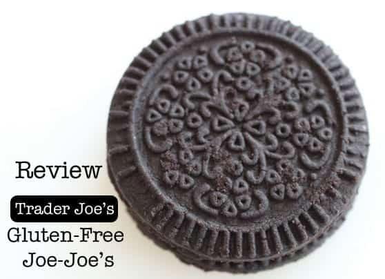 Gluten-free sandwich cookie. Text on Image: Gluten-Free Joe Joe's Review Sandwich Cookie.