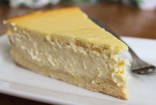Ricotta Cheesecake on a white plate.