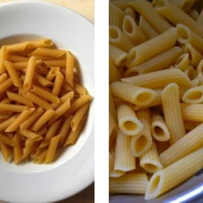 Uncooked gluten-free pasta in white bowl. (left) Cooked gluten-free pasta in colander. (right)