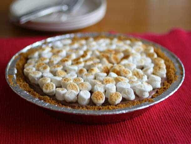 S'more Pie on a red tablecloth.