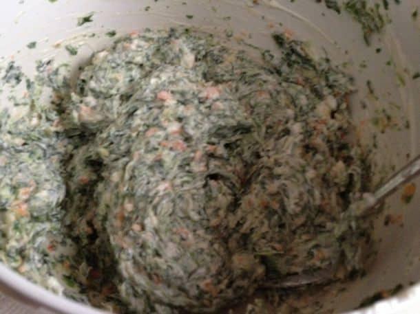 Gluten-free spinach dip in bowl.