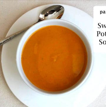 Paleo Sweet Potato Soup in a bowl.