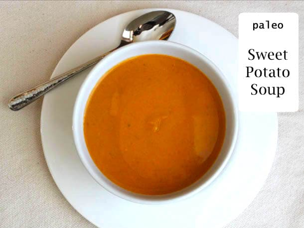 Paleo Sweet Potato Soup in bowl.