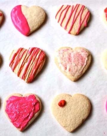 Decorated gluten-free sugar cookie hearts.