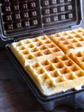Gluten-Free Waffles in a waffle maker.