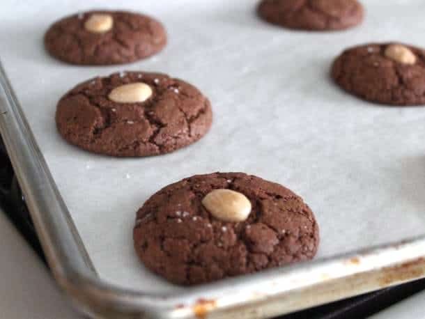 Gluten-Free Chocolate Almond Cookies on a baking sheet.