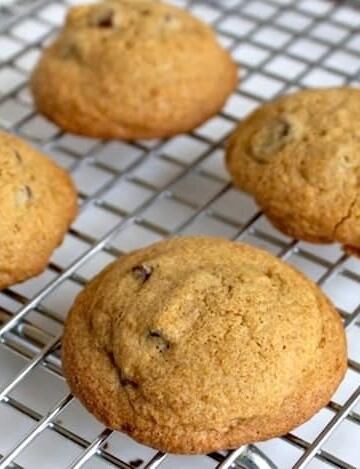 Gluten-Free Chocolate Chip Cookies on wire rack.