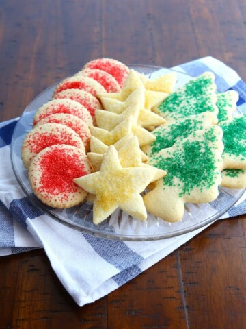 Gluten-Free Cut out Sugar Cookies on a Plate.