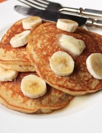 Gluten-Free Banana Pancakes on a plate.