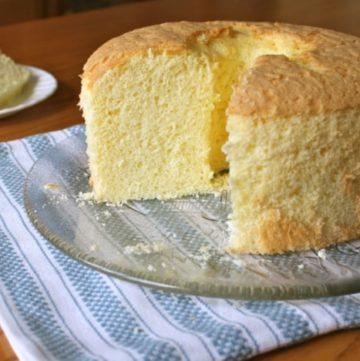 Gluten-Free Chiffon Cake on a platter.