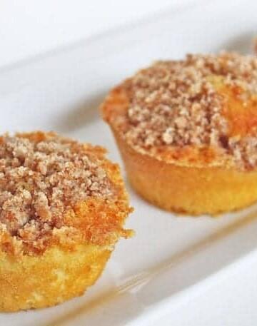 Gluten-Free Coffee Cakes on white platter.