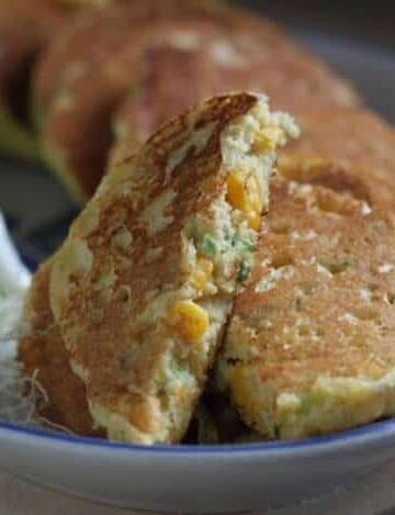Gluten-Free Corn Scallion Pancakes on a platter.