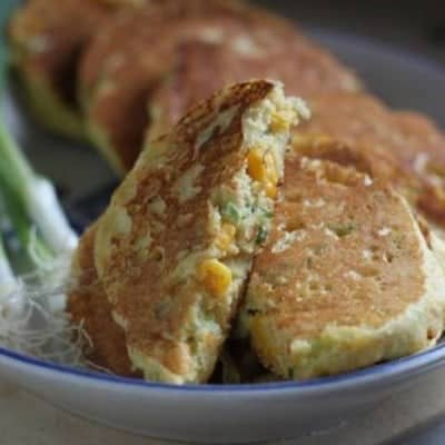 Gluten-Free Corn Scallion Pancakes on a platter.