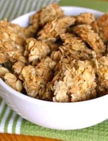 Crunchy gluten-free granola clusters in a bowl.