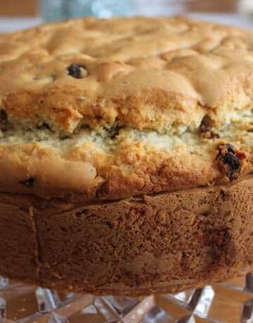 Gluten-Free Irish Soda Bread on a glass platter.