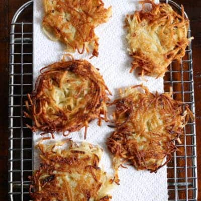 Gluten-Free Latkes on wire rack.