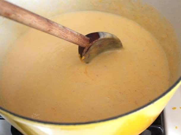 Cheese sauce for gluten-free macaroni and cheese.