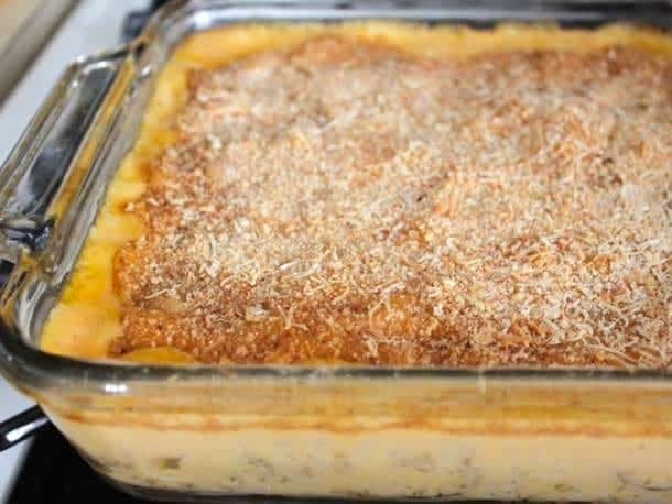 Gluten-Free Macaroni and Cheese in pan topped with breadcrumbs and parmesan cheese.