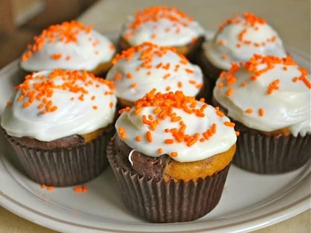 Gluten-Free Chocolate Marble Pumpkin Cupcakes