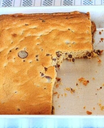 Gluten-free chocolate chip peanut butter bars in a pan.