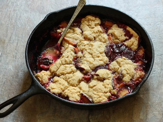 Gluten-Free Plum Cobbler | Serve warm with vanilla ice cream for a perfect summer dessert.