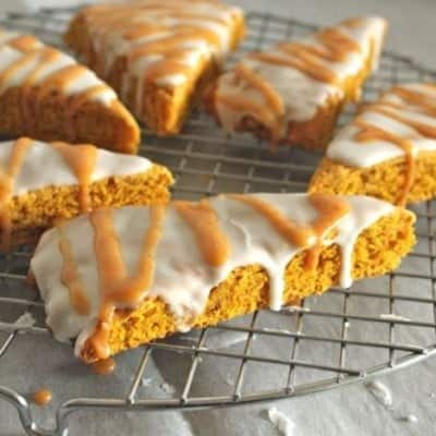 Gluten-Free Pumpkin Scones on a wire rack.