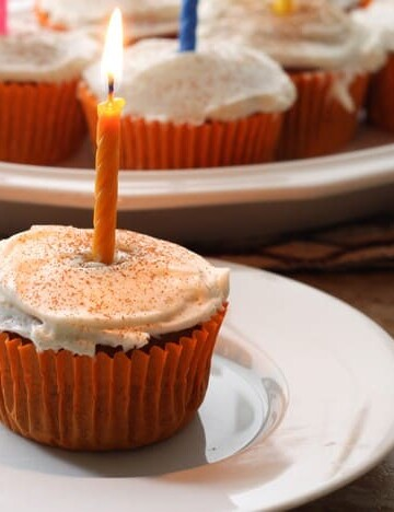 Gluten-Free Spicy Pumpkin Cupcakes with Cream Cheese Frosting.
