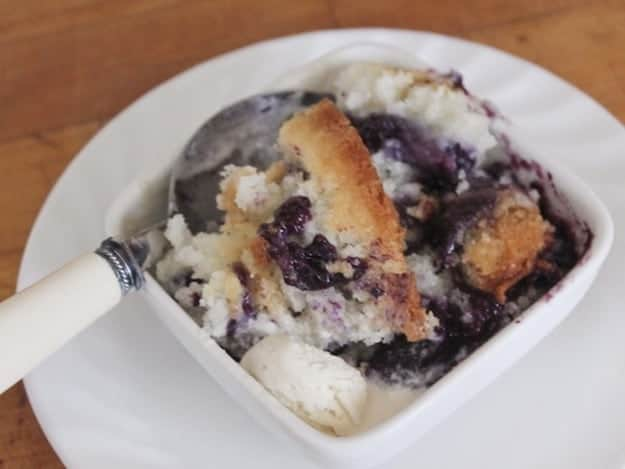 Gluten-Free Texas Cobbler in a small white bowl.