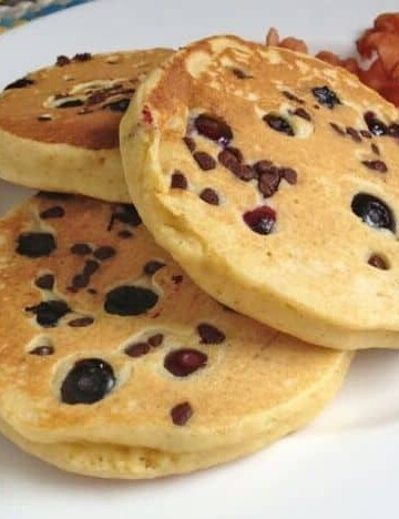 Gluten-Free Whole Grain Pancakes with Chocolate Chips and Blueberries.