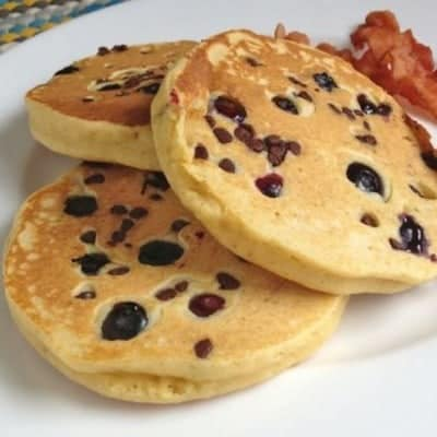 Gluten-Free Whole Grain Pancakes with Chocolate Chips and Blueberries | GlutenFreeBaking.com