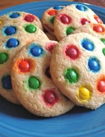 Soft Gluten-Free Sugar Cookies Topped with M&Ms.