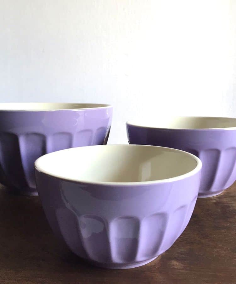 Purple Ceramic Mixing Bowls.
