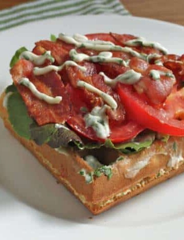 Gluten-Free Waffle BLT on a white plate.