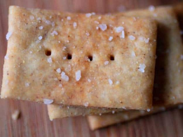 Whole grain gluten-free crackers with salt on top.