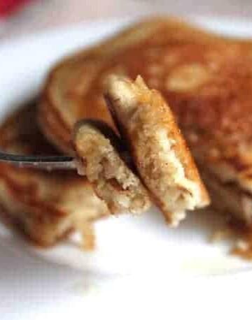 Whole Grain Gluten-Free Pancakes on a fork.