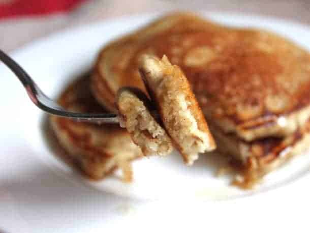 Whole Grain Gluten-Free Pancakes on a fork.