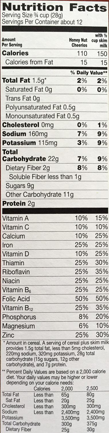 Honey Nut Cheerios Nutrition Facts