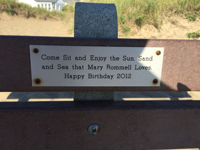 Bench dedication on Old Orchard Beach Maine.