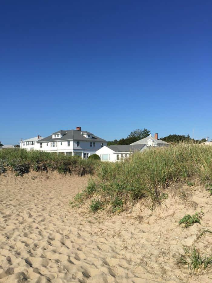 White house on beach.