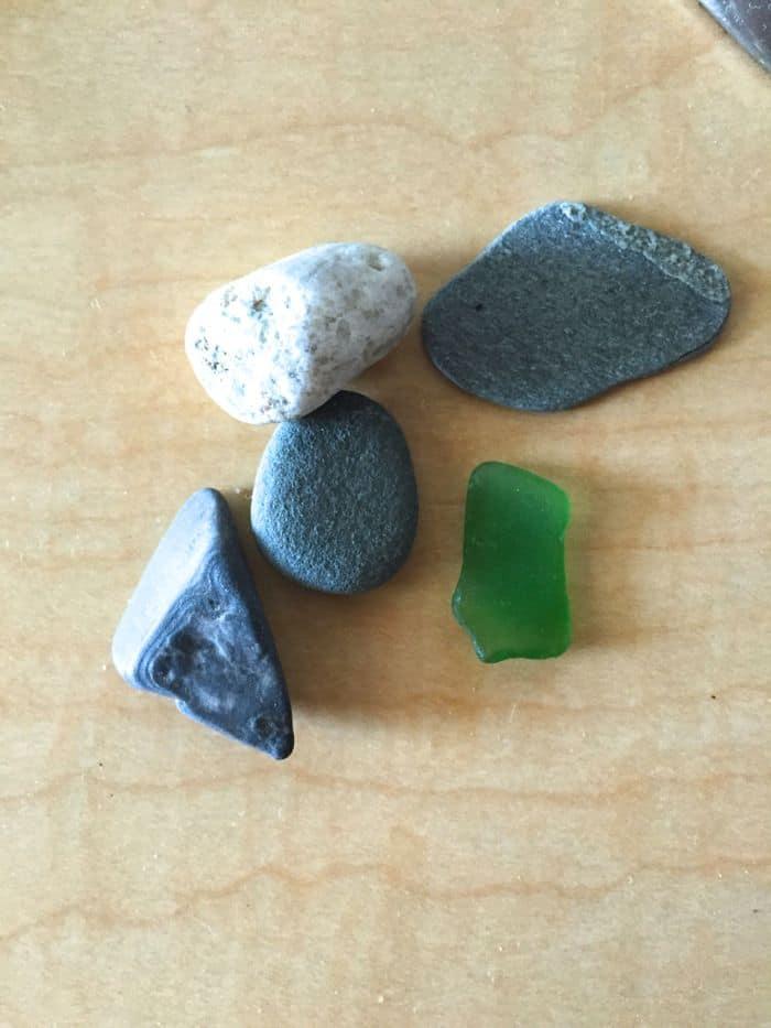 Beach stones and sea glass.