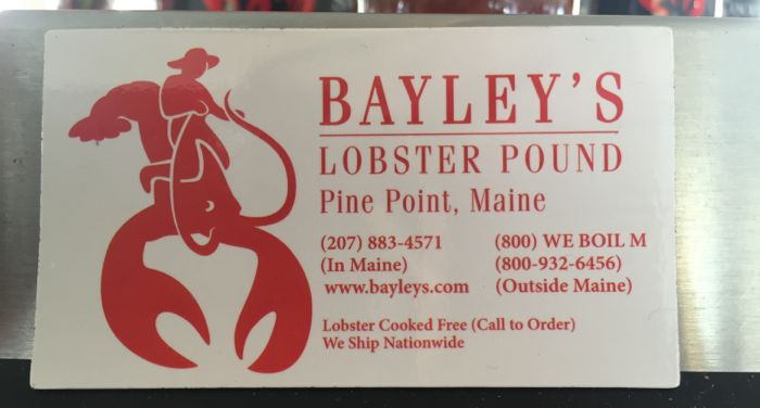 Bayley's lobster pound business card.