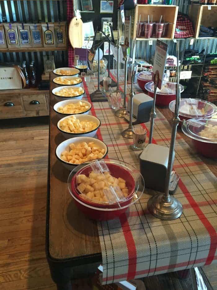 Cheese samples on display.