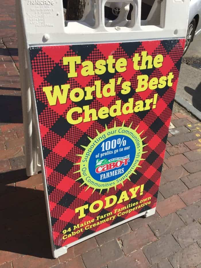 Taste the World's Best Cheddar Cabot Cheese sign.