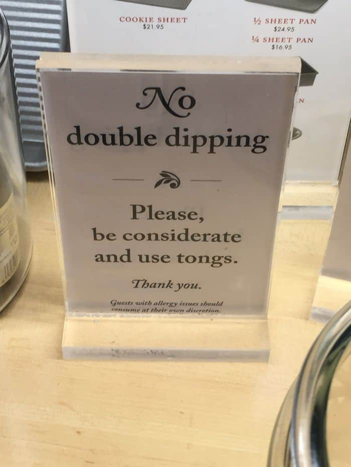 No Double dipping sign.