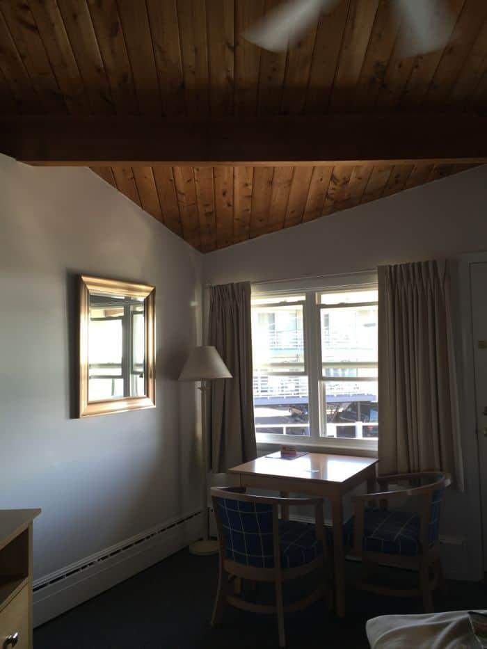 Wood ceiling in hotel room.